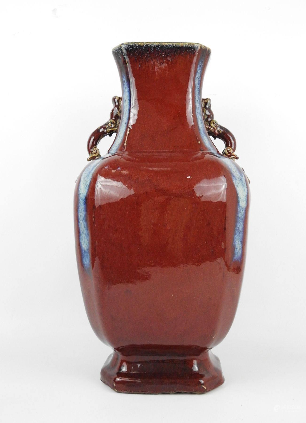 窑变红釉瓶