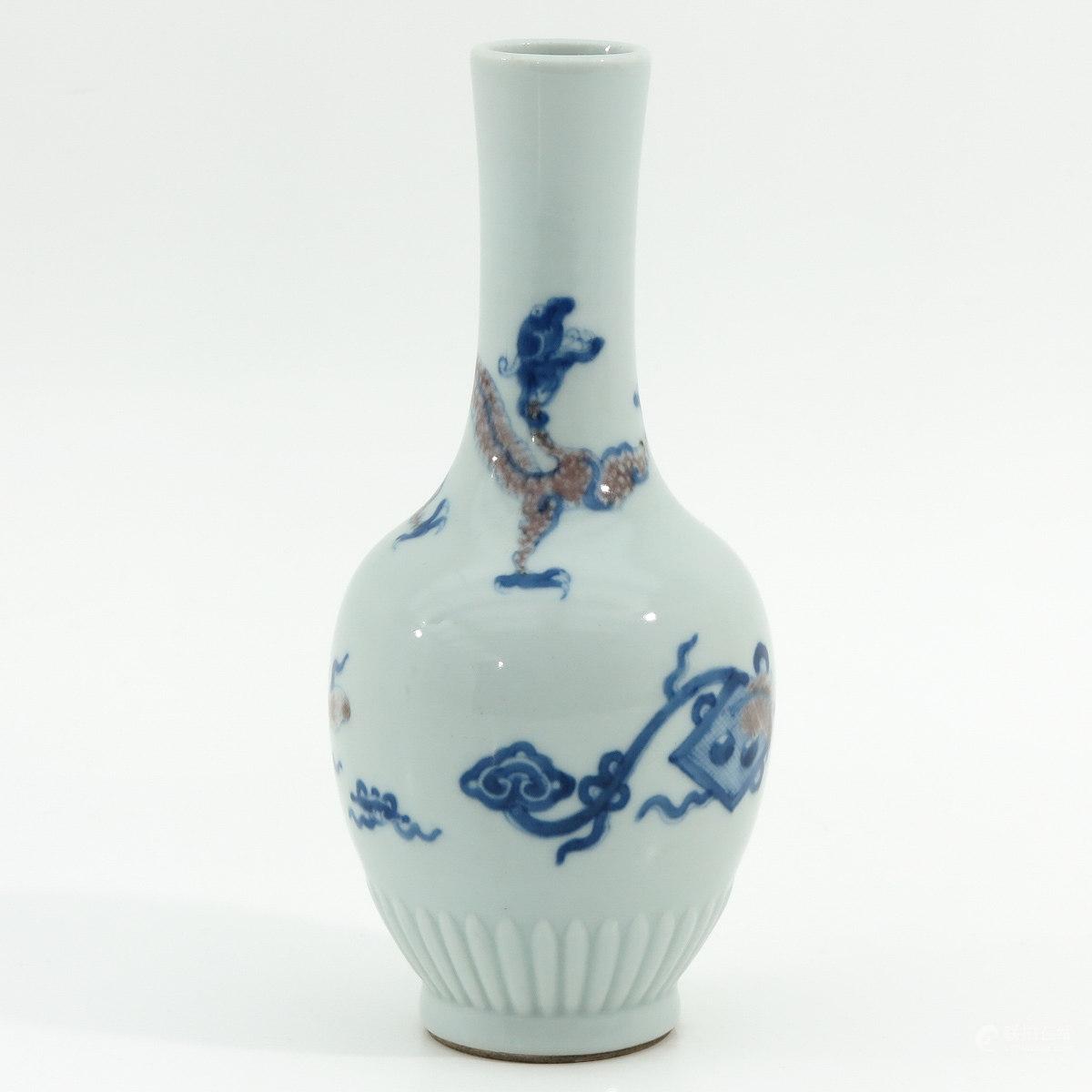 青花釉里红螭龙纹瓶