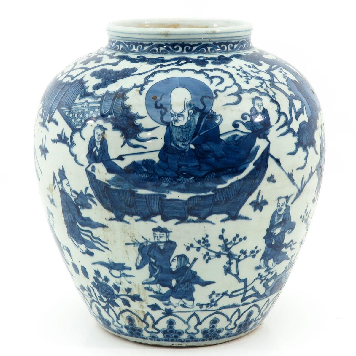 青花祝寿图的大罐
