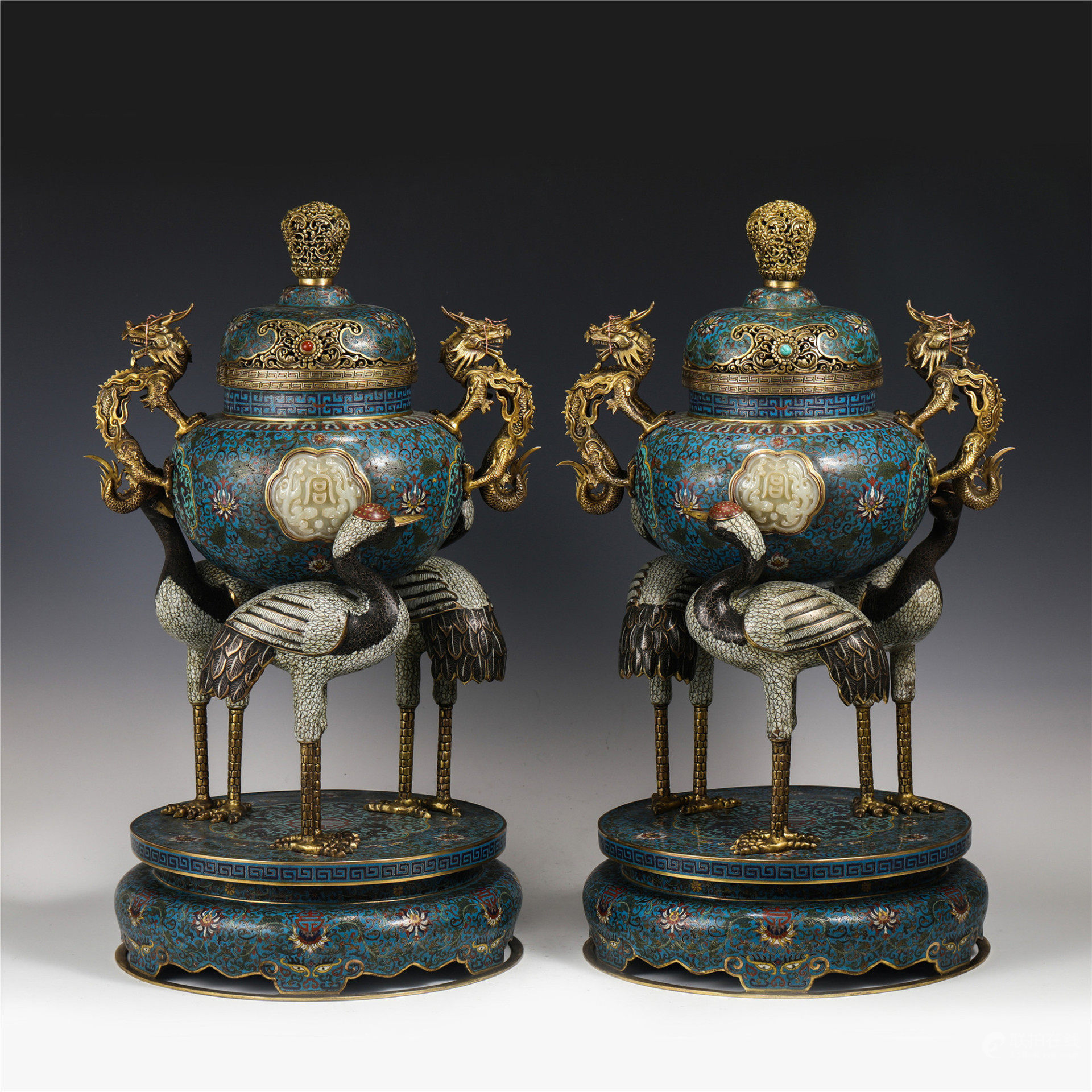 A PAIR OF CHINESE CLOISONNE CENSERS WITH BOTTOM