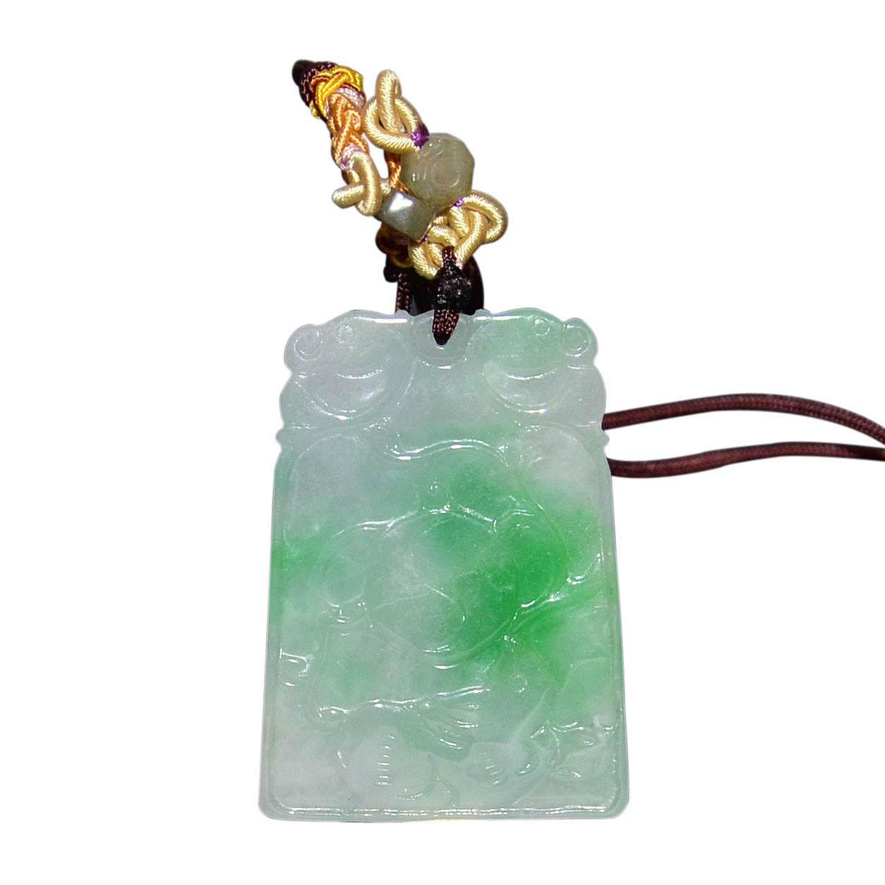 翡翠紫罗兰双面平雕如意方形玉佩 a jadeite lavender ruyi pendant