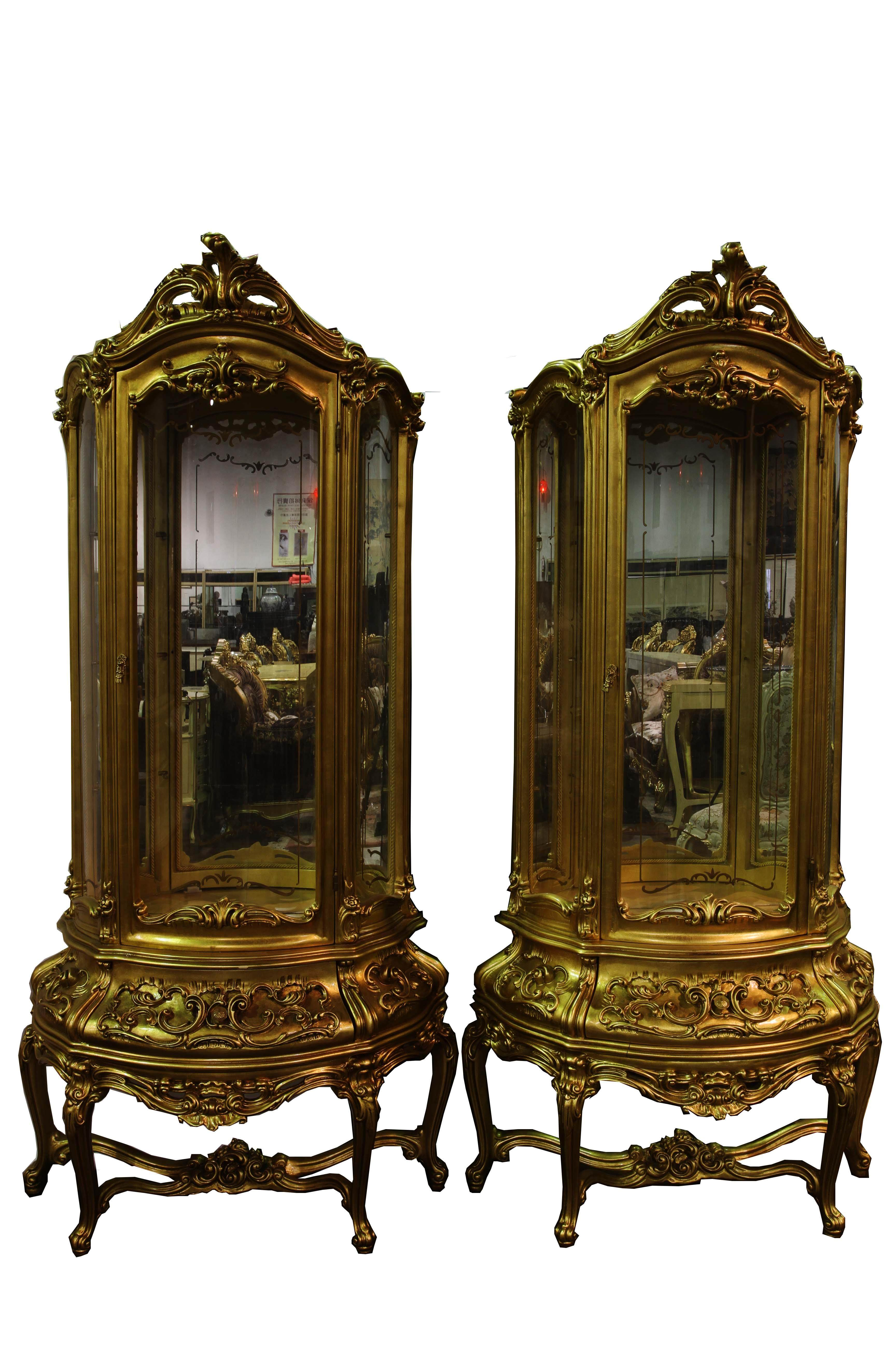 法式描金雕花玻璃门半弧形酒柜一对