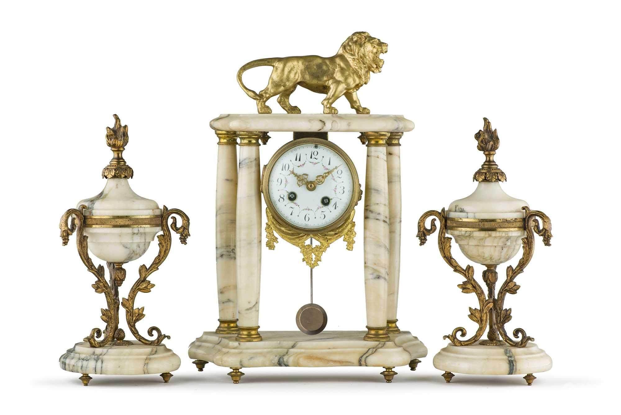 51bidlive Garniture De Cheminee D Epoque Napoleon Iii En Marbre