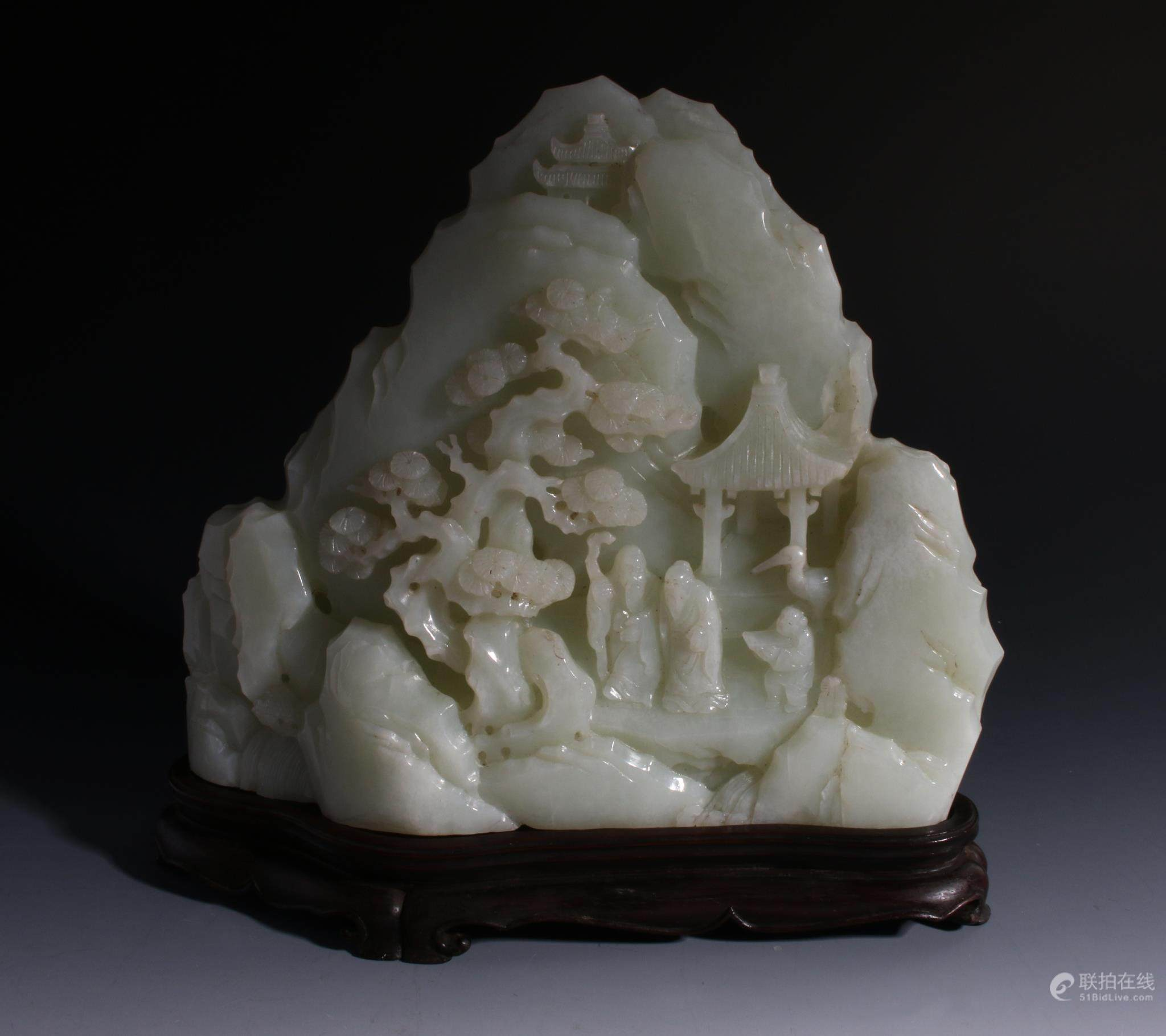 51bidlive Chinese Carved White Jade Mountain Scene