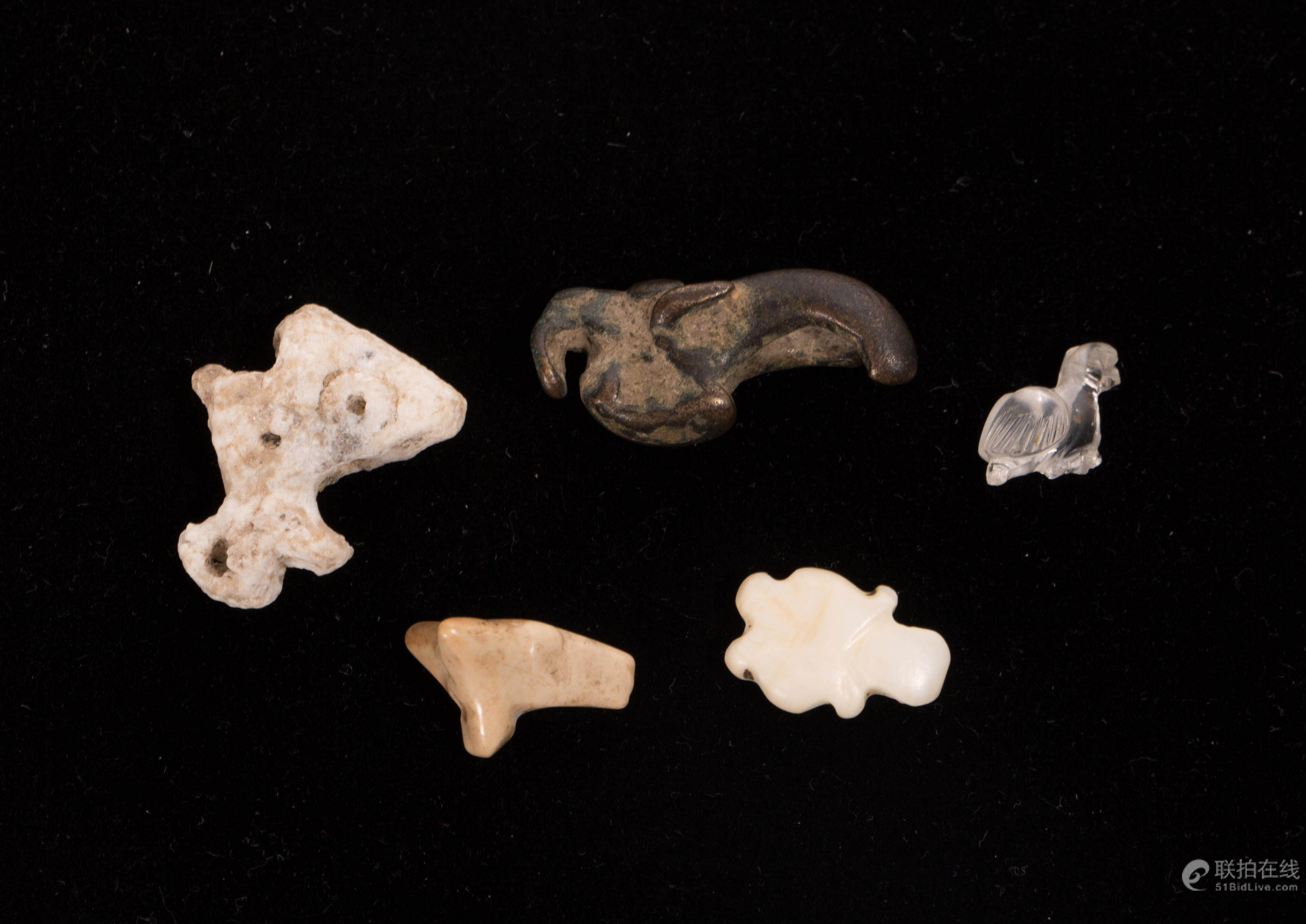 51BidLive-[A NICE LOT OF 5 ANCIENT ANIMAL AMULETS]