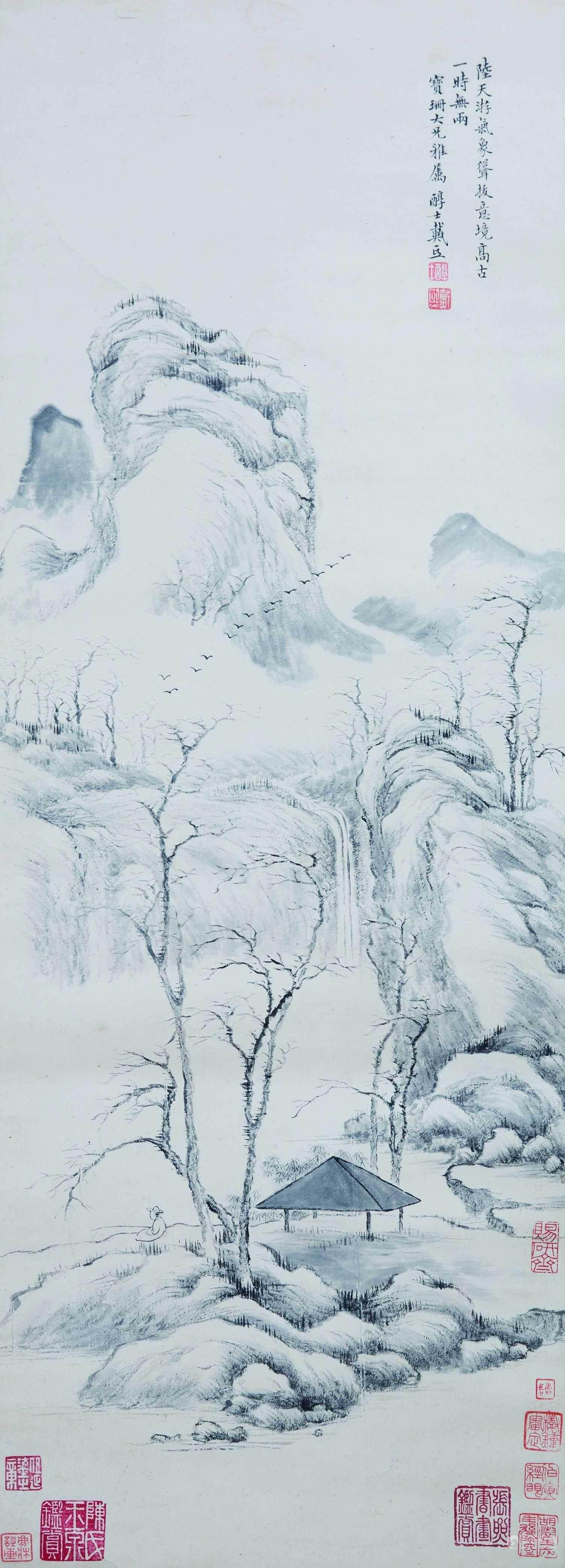 山水风景手绘线稿
