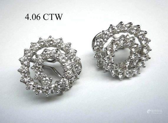 51BidLive-[14kt White Gold 4 06CTW VVS2 VS1 Diamond Spiral