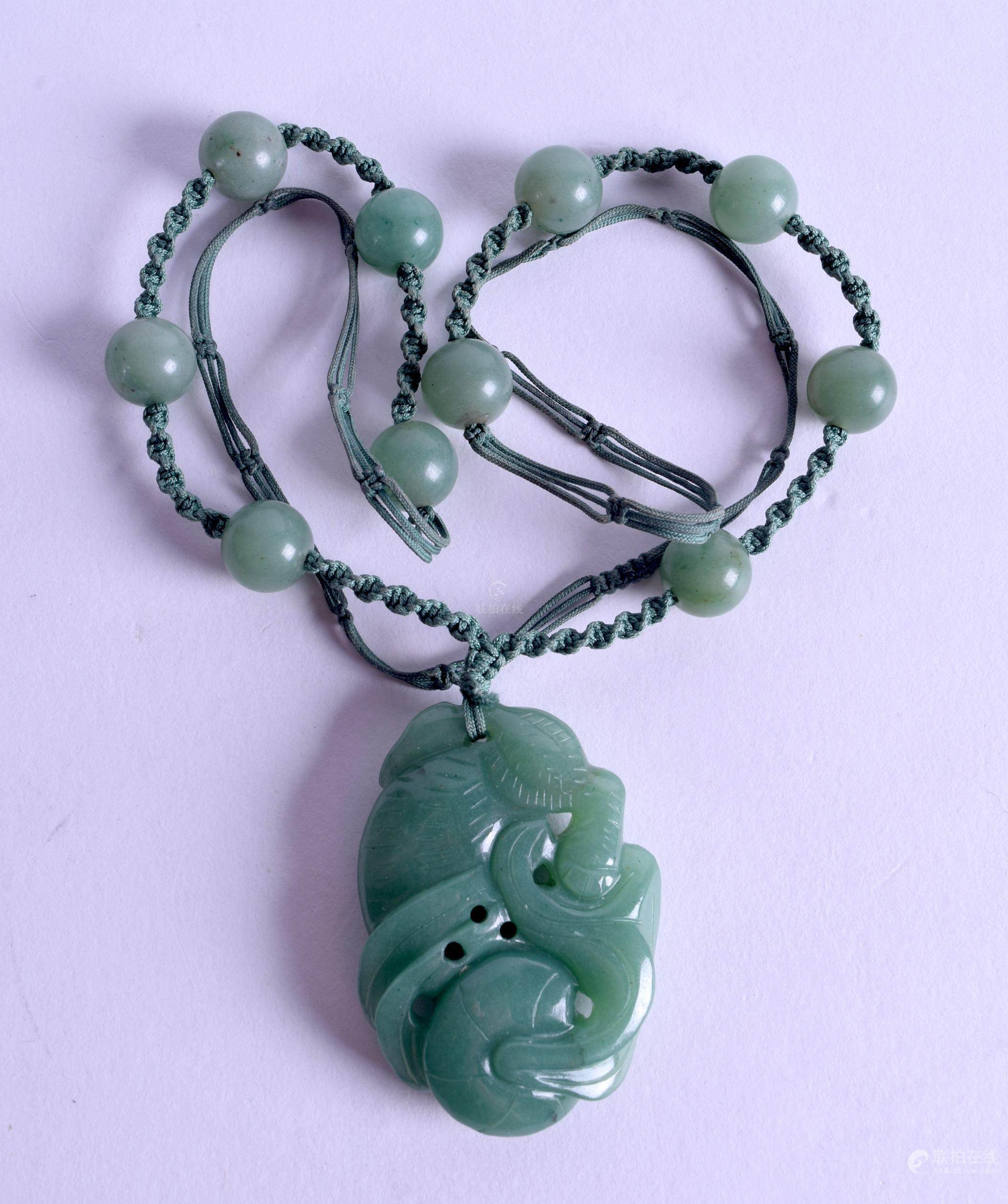 jade green pendant cord w beaded carved etsy leather vintage pin jewelry necklace