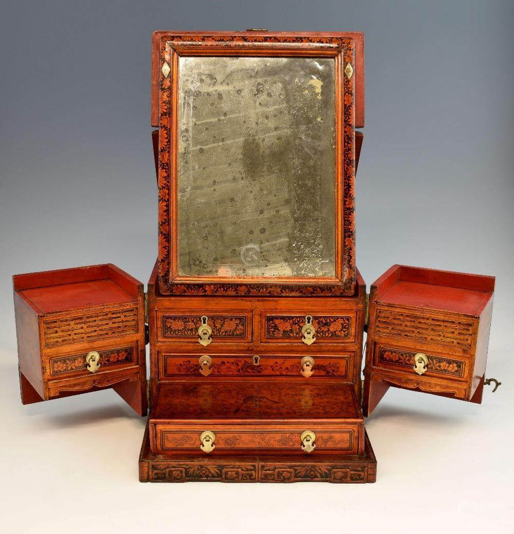 Chinese Red And Black Lacquered Travelling Dressing Table Box With Metal  Mounts, Fold Out Mirror,