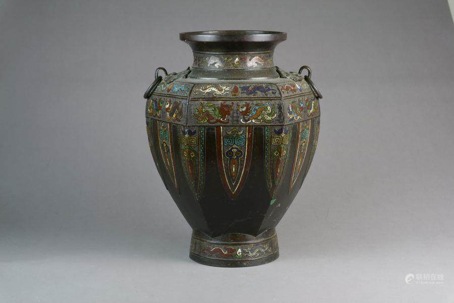 51bidlive A Large Chinese Bronze Champleve Vase Late Qing Dynasty