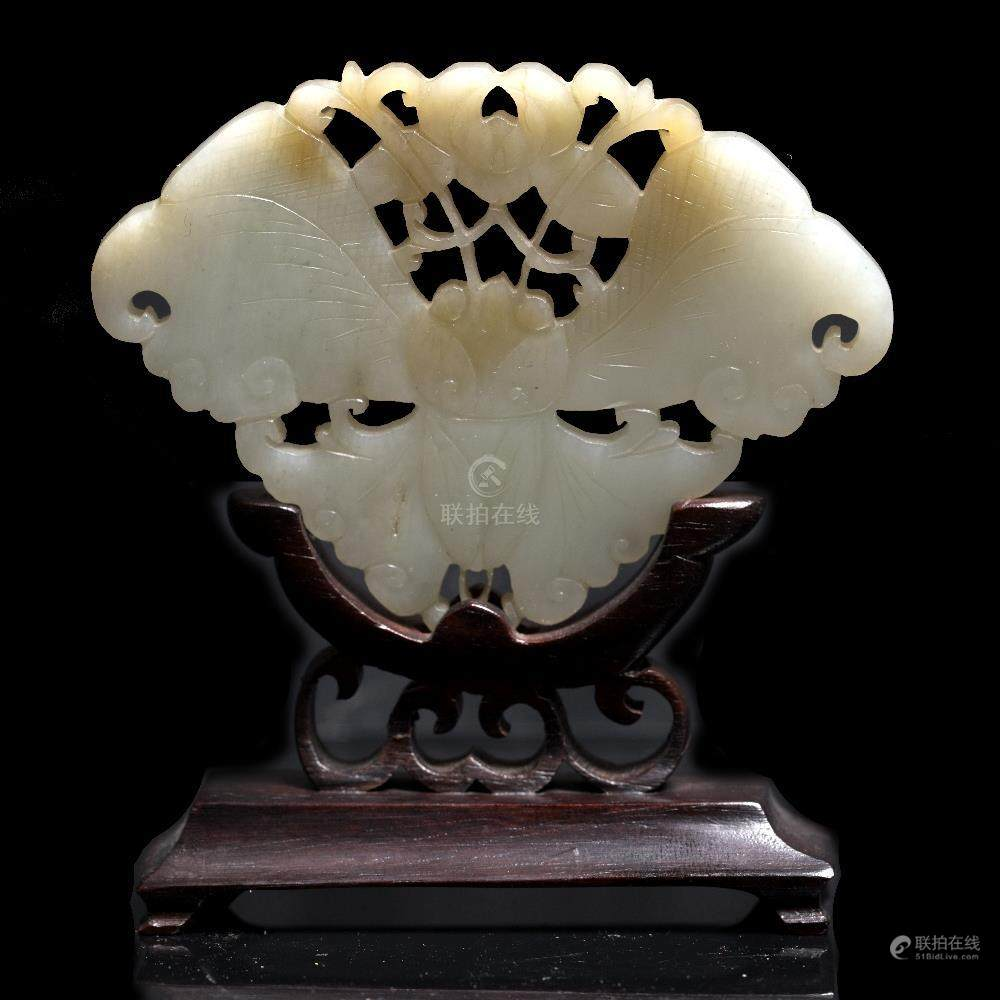 51bidlive A Chinese White Jade Plaque 19th Century Pierced And