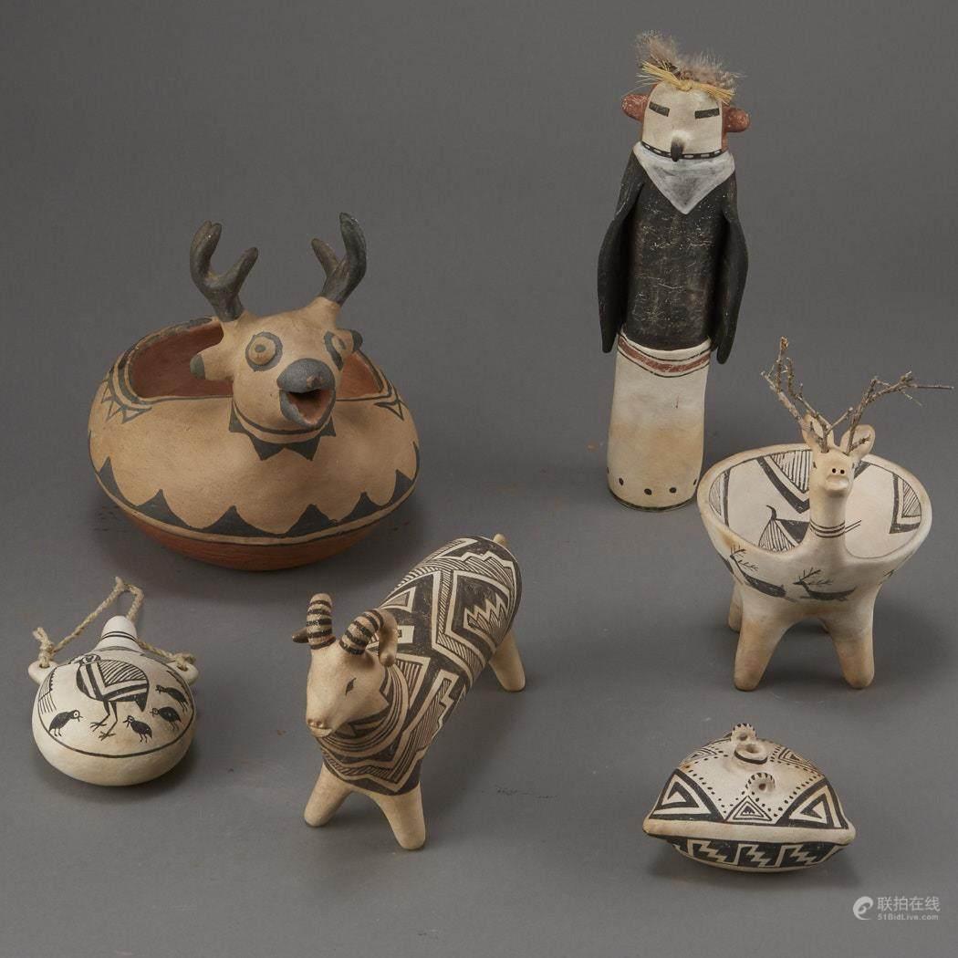 51BidLive-[Group of Laguna Pueblo Pottery Effigy Jars and