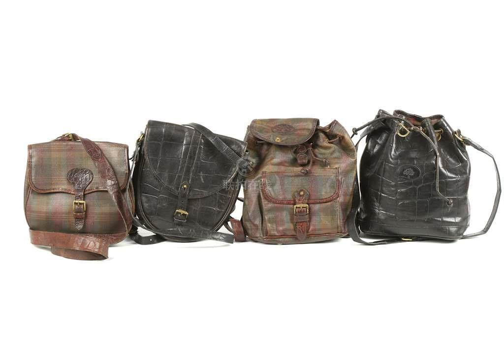 8030c631862a ... germany four vintage mulberry handbags to include a tartan scotchgrain  backpack brown congo leather trim f0a9c
