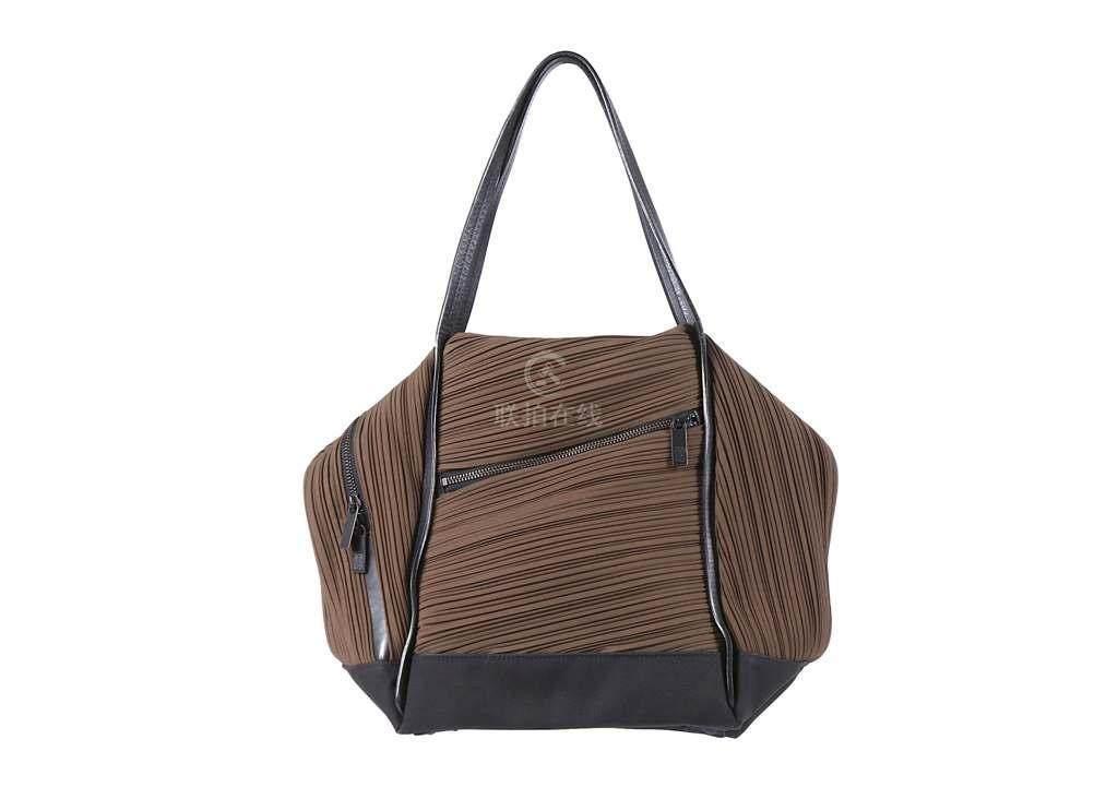Issey Miyake Pleats Please Bag Dark Olive Green With Black Leather Handles Zip Top 26cm Wide