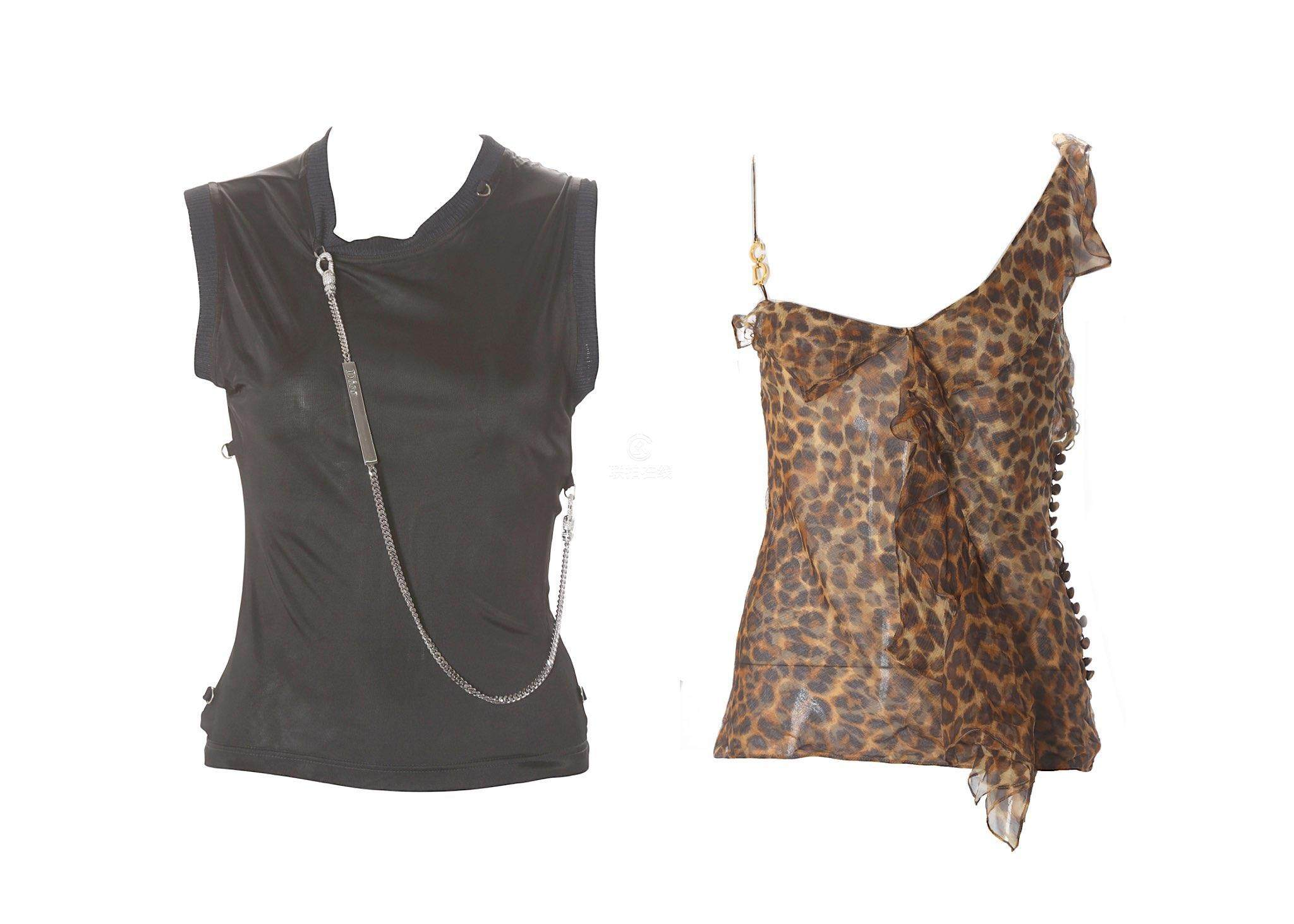 918abc7bd1b0d4 Two Christian Dior Tops, to include a leopard print silk top, ruffle design  to left shoulder and