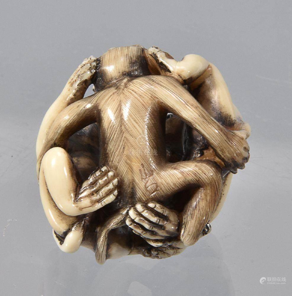 ��ϒ�ǒ�_51bidlive-[ 08 a stagshorn netsuke in the form