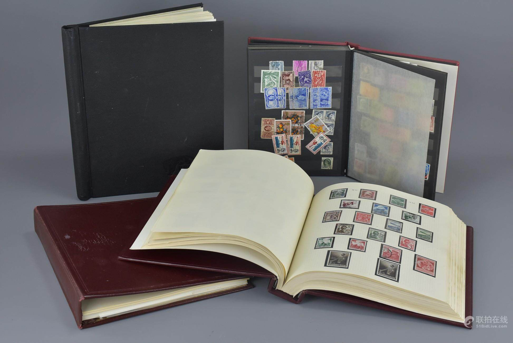 51BidLive-[Three Stamp Albums and a Stock book (including a
