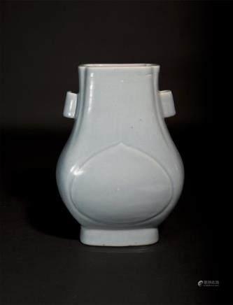 Celadon-Glazed Fanghu with Tubular Ear Handles Qing