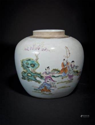 Famille-Rose Children-at-Play Jar Republic Period