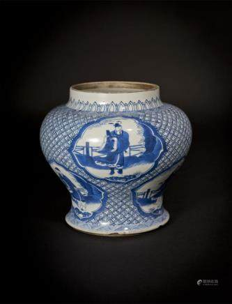 Blue and White Jar with Figure Medallions Qing