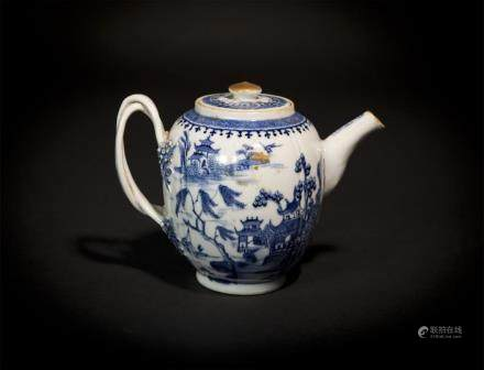 Blue and White Landscape Teapot Qing
