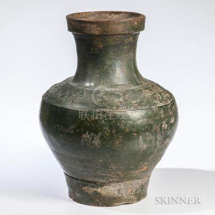 Green-glazed Earthenware Storage Jar