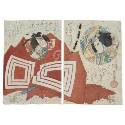 JAPANESE SCHOOL, , A group of three color woodcut polyptychs