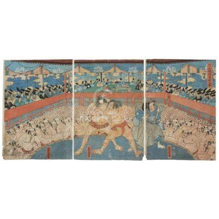JAPANESE SCHOOL, , A GROUP OF FOUR COLOR WOODBLOCK POLYPTYCH