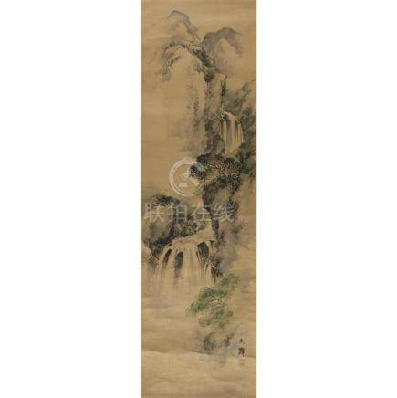 SHIOKAWA BUNRIN (1808-1877), , MOUNTAINOUS LANDSCAPE WITH WA