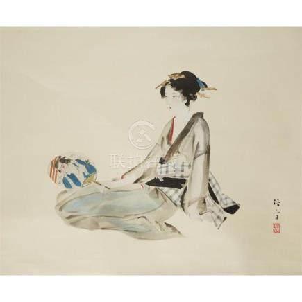 KIYOTAKA KABURAKI (1878-1972), , GIRL WITH FAN