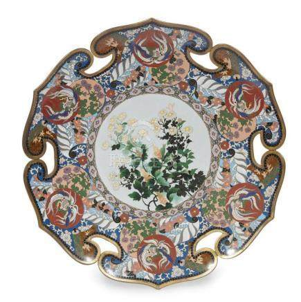 A Japanese cloisonne floral tray,