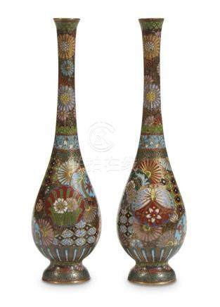 A pair of small finely-decorated Japanese cloisonne pear-sha