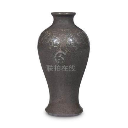 A Japanese cloisonne enamel grey-ground vase, Ando, 20th Cen