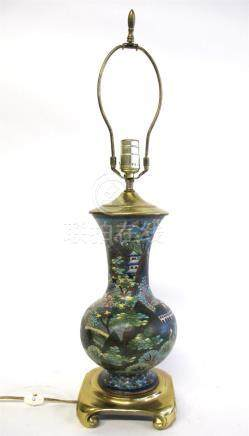 Japanese cloisonné enameled vase mounted as a lamp,
