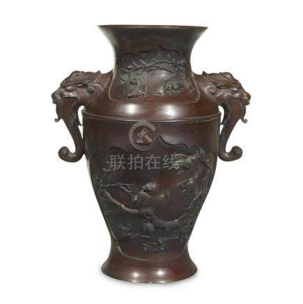 A Japanese patinated bronze vase, meiji period