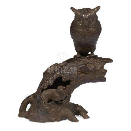 "A Japanese patinated bronze ""Owl and Monkey"" group,"