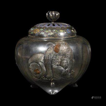 A Japanese silver; mixed metals and enamel censer, Yoshitosh