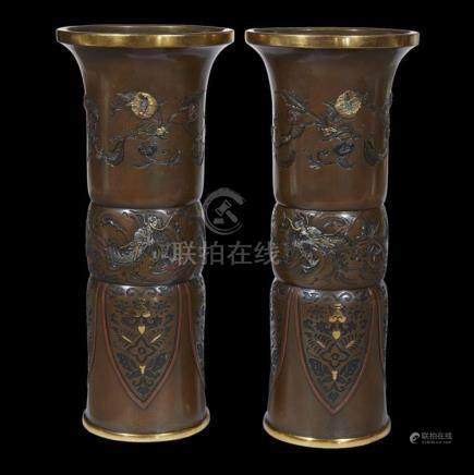A pair of Japanese patinated bronze and mixed-metal vases,