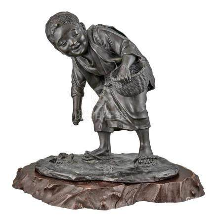 Japanese Bronze Figure of a Boy