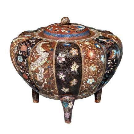Japanese Cloisonné Enamel Covered Vase