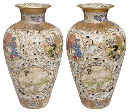 Pair of Massive Japanese Satsuma Vases