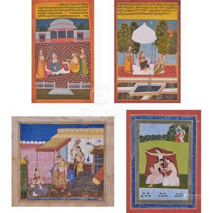 Indian School 19th Century Four: figural scenes