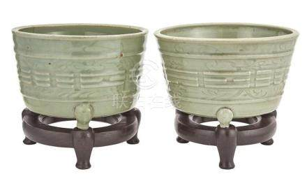 Pair of Chinese Longquan Celadon 'Trigrams' Tripod Cachepots