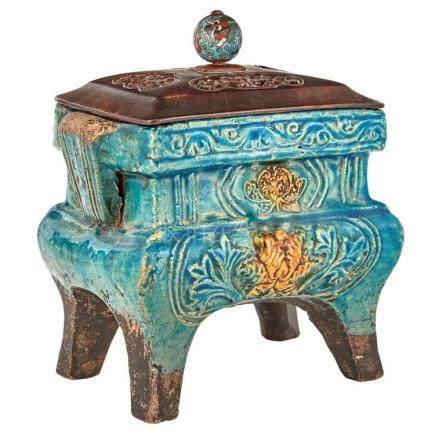 Chinese Fahua Glazed Pottery Censer