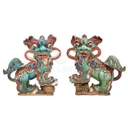 Pair of Chinese Glazed Stoneware Fu Dog Roof Tile Finials