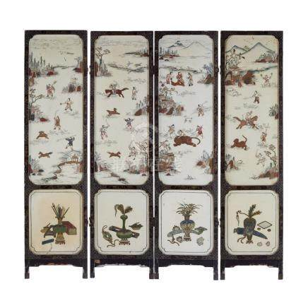 IVORY, BONE AND MOTHER-OF-PEARL INLAID FOUR-FOLD SCREENLATE 19TH/EARLY 20TH CENTURY painted and