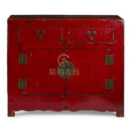 RED LACQUER SIDEBOARD20TH CENTURY with a pair of hinged doors below two drawers, fitted with metal