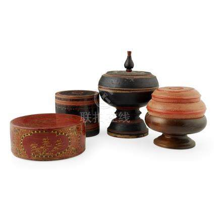 ASSEMBLED GROUP OF FOUR SOUTHEAST ASIAN LACQUER BETEL NUT BOXES19TH CENTURY painted and gilt with