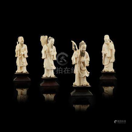 GROUP OF FOUR IVORY FIGURESLATE QING DYNASTY/REPUBLIC PERIOD depicting a fisherman, a woodcutter,