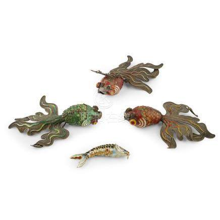 GROUP OF FOUR SILVER ENAMEL ARTICULATED FISHEARLY 20TH CENTURY comprising three large goldfish and a